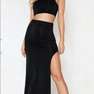 Two piece black maxi skirt and crop top.